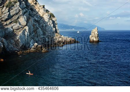Beautiful View Of The Sea From The Height. Seascape On The Black Sea With A Cliff. A Piece Of Rock I