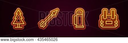 Set Line Tree, Medieval Arrow, Thermos Container And Bulletproof Vest. Glowing Neon Icon. Vector