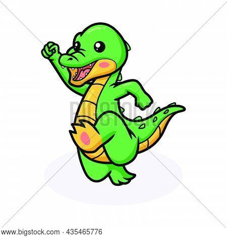 Vector Illustration Of Cute Happy Little Crocodile Cartoon