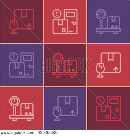 Set Line Package Box With Fragile Content, Scale Cardboard And Home Delivery Services Icon. Vector