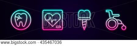 Set Line Tooth With Caries, Heart Rate, Dental Implant And Wheelchair For Disabled Person. Glowing N