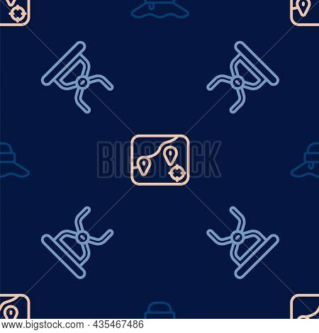 Set Line Fisherman Hat, Camping Folding Chair And Location Fishing On Seamless Pattern. Vector