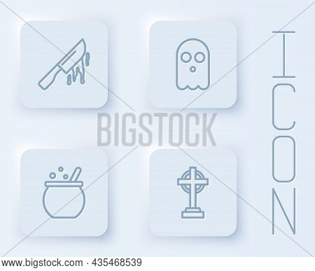 Set Line Bloody Knife, Ghost, Halloween Witch Cauldron And Tombstone With Cross. White Square Button