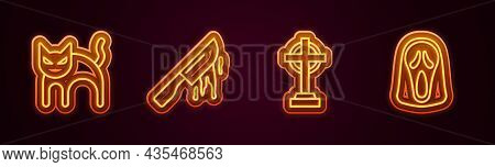 Set Line Black Cat, Bloody Knife, Tombstone With Cross And Funny And Scary Ghost Mask. Glowing Neon