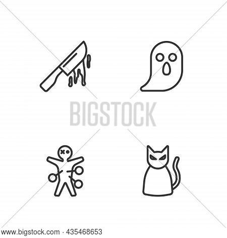 Set Line Black Cat, Voodoo Doll, Bloody Knife And Ghost Icon. Vector