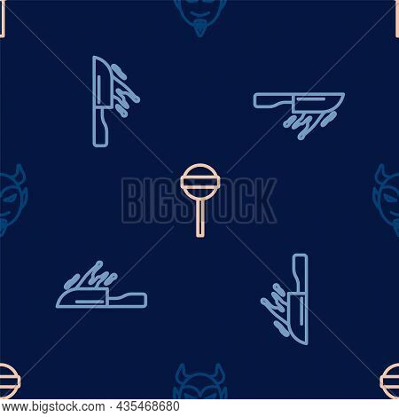 Set Line Devil Head, Bloody Knife And Lollipop On Seamless Pattern. Vector