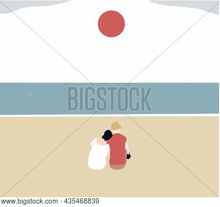 Couple Watching Sunset Together On Beach Travel Summer Holidays. Romantic Dating By The Sea. Vector