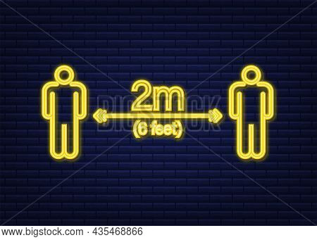 Social Distance Signage Neon Icon. Please Wait Here. Keep Safe Distance