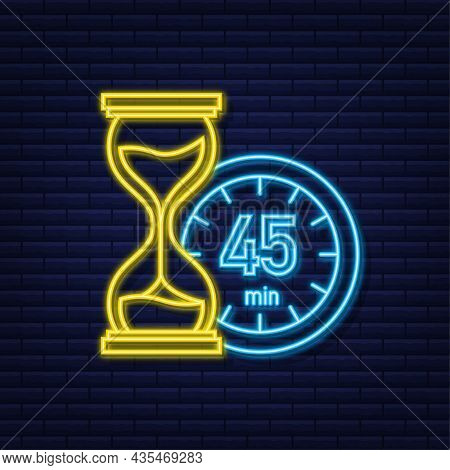 The 45 Minutes, Stopwatch Vector Neon Icon. Stopwatch Icon In Flat Style, Timer On On Color Backgrou