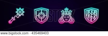 Set Line Mace With Spikes, Shield, Princess Or Queen And . Glowing Neon Icon. Vector
