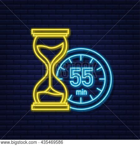 The 55 Minutes, Stopwatch Vector Neon Icon. Stopwatch Icon In Flat Style, Timer On On Color Backgrou