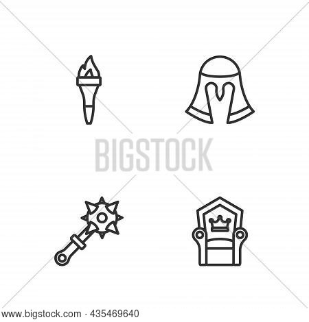 Set Line Medieval Throne, Mace With Spikes, Torch Flame And Helmet Icon. Vector