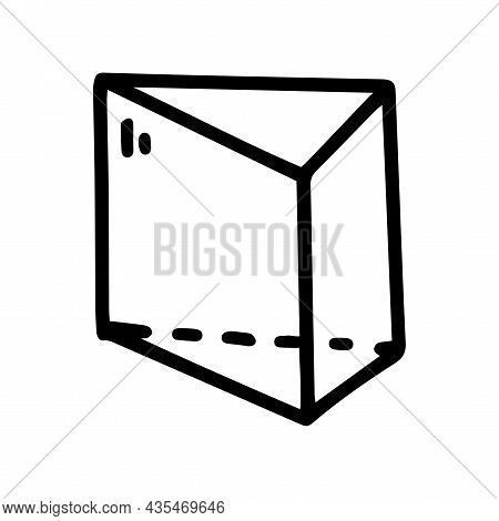 Wedge Prism Line Vector Doodle Simple Icon