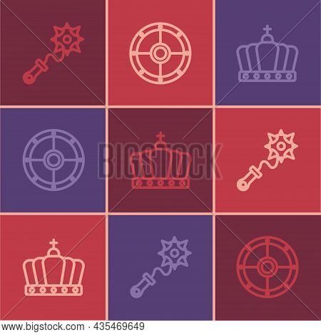 Set Line Mace With Spikes, King Crown And Round Shield Icon. Vector