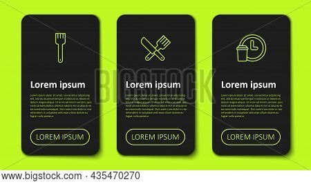 Set Line Fork, Crossed Knife And Fork And Round The Clock Delivery. Business Infographic Template. V