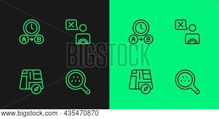 Set Line Search Taxi, Location Car, Taxi Waiting Time And Driver Icon. Vector