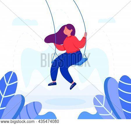 Adult Female Cartoon Character Swinging On Swing. Happy Girl In Good Mood Having Fun Outdoors Flat V