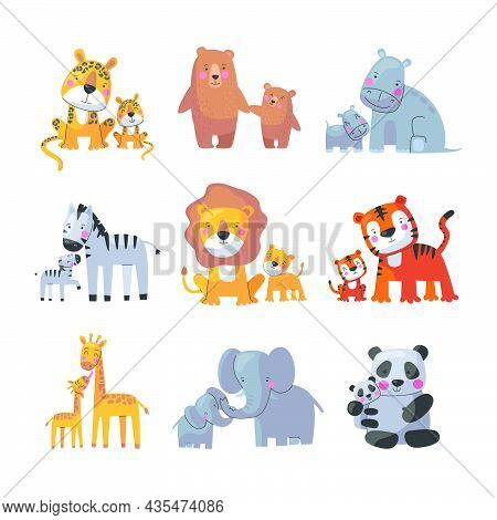 Animal Mom And Baby, Cute Cartoon Family Set. Vector Illustration Of Animal Happy Parent And Small C