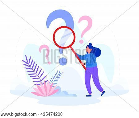 Curious Analyst Investigating Question Mark With Magnifier. Female Cartoon Person Searching For Info