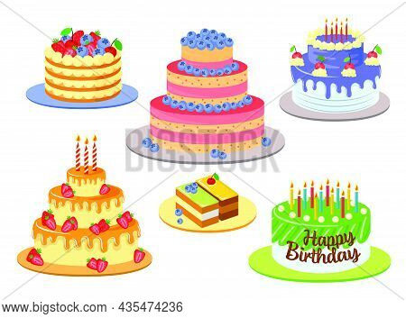 Different Elegant Birthday Cakes Vector Illustrations Set. Designs Of Chocolate Cakes With Decor, Ic