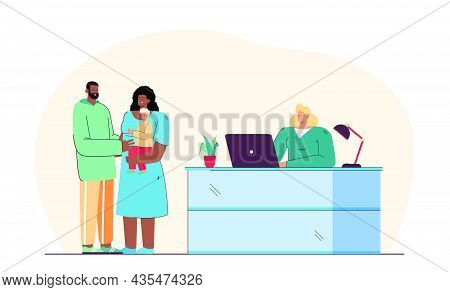 Married Couple Adopting Child At Adoption Agency. Female Receptionist With Laptop At Counter, Black