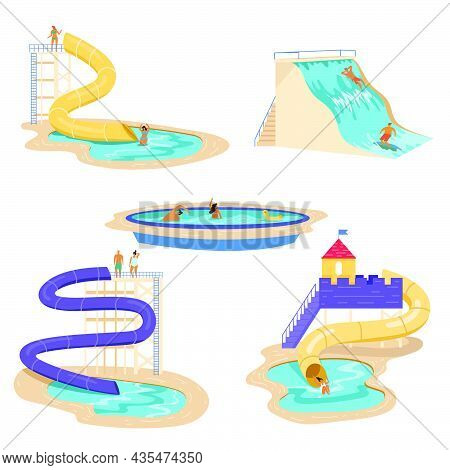 People Relaxing At Waterpark Vector Illustrations Set. Men And Women Sliding Down Tall Water Slides