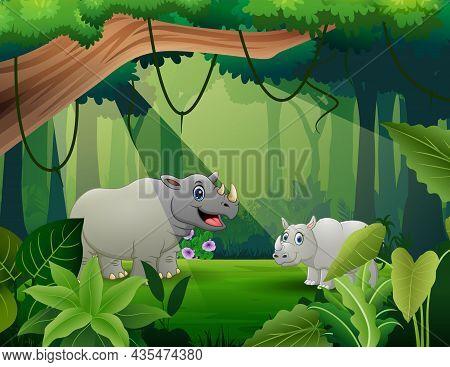 Rhinos Cartoon Living In The Jungle Illustration