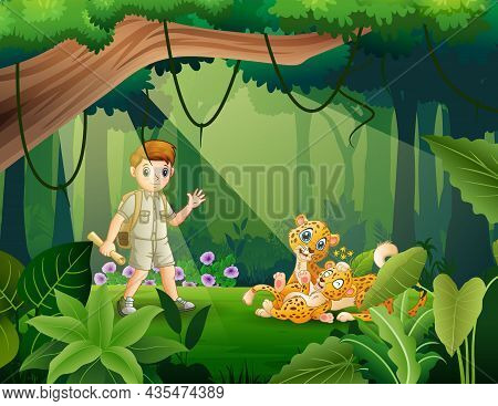 Explorer Boy And Cheetah In The Jungle Illustration