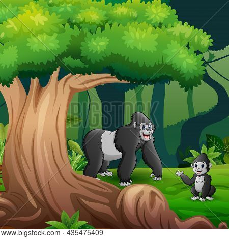 Forest Scene With A Mother Gorilla And Her Cub Under The Tree