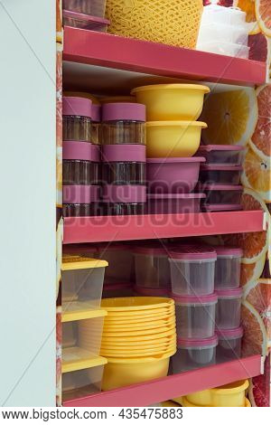 Household Goods Storage Equipment. Various Containers For Food And For Freezing In The Shop Window F