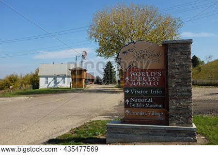 JAMESTOWN, NORTH DAKOTA - 3 OCT 2021: Sign at the entrance to Frontier Town, old style western town with original buildings from the frontier villages of North Dakota.