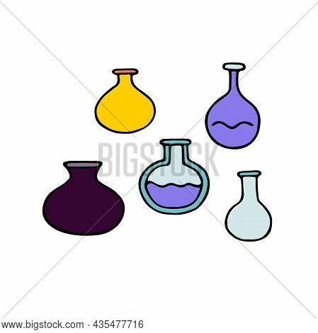 Medical Test Tubes Doodle Set. Hand-drawn Flasks Isolated On White Background. Chemical Glass For Me