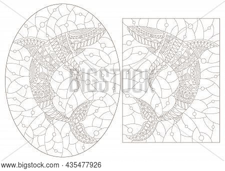 A Set Of Contour Illustrations In The Style Of Stained Glass With Abstract Sharks, Dark Contours On