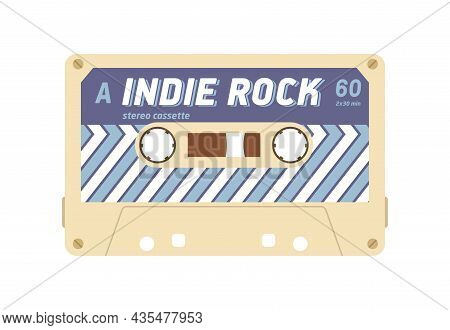 Audio Cassette With Mix Tape Of Indie Music Records. Magnetic Stereo Casette Of 80s. Retro Analogue