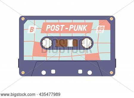 Audio Cassette From 80s. Retro Tape Records Of 90s Music. Old Analog Casette. Compact Audiocassette