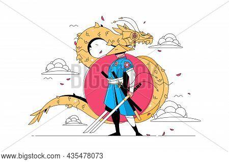 Samurai Man With Katana Vector Illustration. Japanese Traditional Costume On Fighter Flat Style. Gol