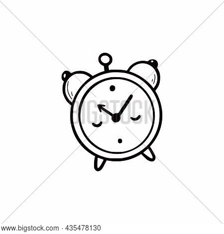 Hand Drawn Cute Alarm Clock. Doodle Sketch Style. Drawing Line Simple Alarm With Face Icon. Isolated