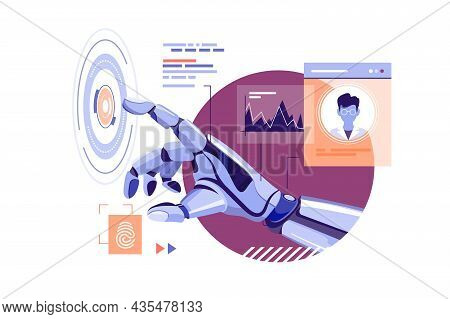 Robot Hand Touch Abstract Virtual Button Vector Illustration. Perform Command Flat Style. Artificial