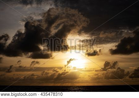 Black Clouds Over Sea Dramatic Thunderstorm Cloudscape With Large Building Clouds Natural Rainy Dark