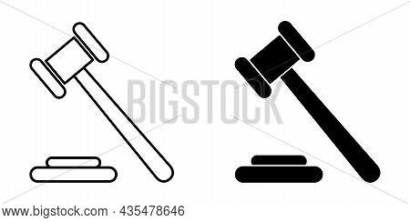 Judge Hammer Icon. Gavel Icons. Vector Illustration. Set Of Black Hammer Icons In Flat Design.