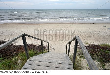 Wooden Stairs At Dunes, Way To The Beach Of The Baltic Sea