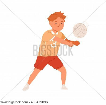Volleyball Player Kid Serving Ball With Hands. Funny Boy Playing Active Game. Happy Cute School Chil