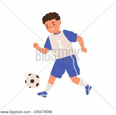 Boy Playing Soccer, Running And Kicking Ball With Foot. Child, Football Player In Sportswear Trainin