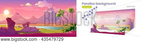 Prehistoric Landscape With Volcano Eruption, River And Palm Trees. Vector Parallax Background For 2d