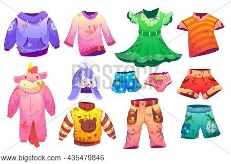 Dirty Kids Fashion Clothes For Boys And Girls Isolated On White Background. Vector Cartoon Set Of Me