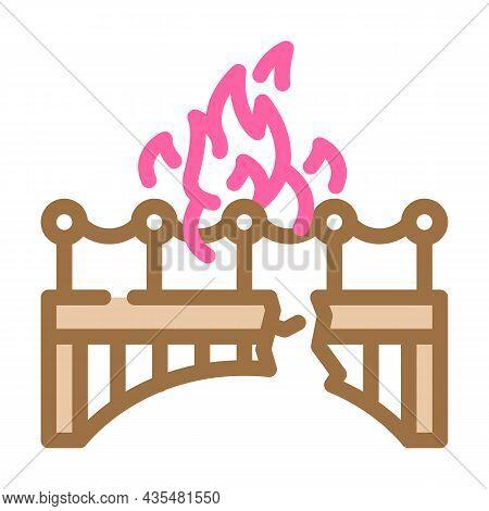Burn Bridge And Divorce Color Icon Vector. Burn Bridge And Divorce Sign. Isolated Symbol Illustratio