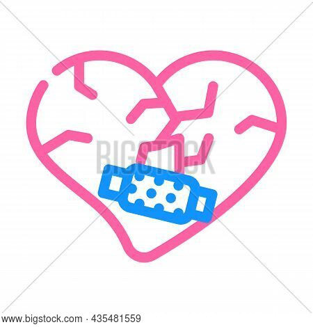 Heart Treatment After Divorce Color Icon Vector. Heart Treatment After Divorce Sign. Isolated Symbol