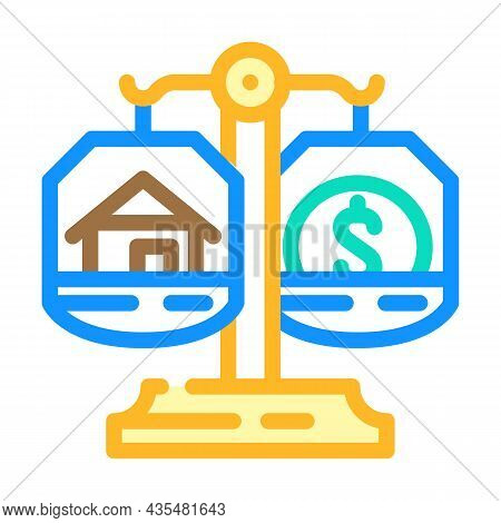 Property Division After Divorce Color Icon Vector. Property Division After Divorce Sign. Isolated Sy