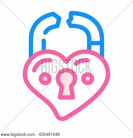 Broken Love Padlock Color Icon Vector. Broken Love Padlock Sign. Isolated Symbol Illustration