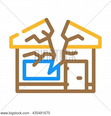 Crashed House Color Icon Vector. Crashed House Sign. Isolated Symbol Illustration